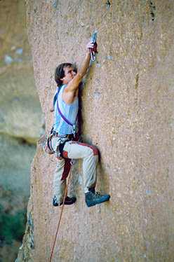 Alan Watts during the first attempt of Watts Totts (5.12b) in 1982, Smith Rock, USA