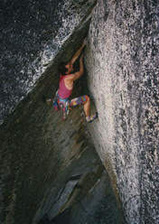 Alan Watts repeating Grand Illusion in 1985. This 5.13c was first climbed by Tony Yaniro in 1979 at the Sugerloaf, California, USA.