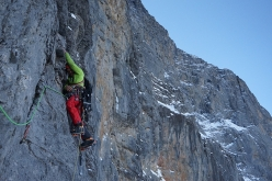 Marcin Tomaszewski making the first ascent of 'Titanic', North Face of the Eiger (A3/M5/6b, 2000m, Tom Ballard, Marcin Tomaszewski)