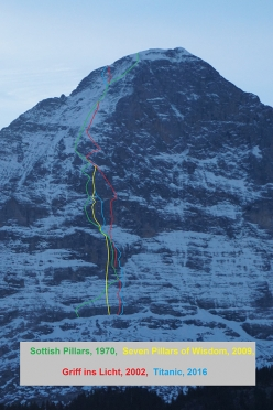 The North Face of the Eiger and the routes Scottish Pillars (aka Solitaire, 1970), Seven Pillars of Wisdom (2009), Griff ins Licht (2002), Titanic (2016)