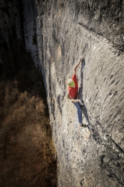 Maurizio Manolo Zanolla in 2016 making the second ascent and first repeat of Il Mattino dei Maghi, the legendary route he first ascended at Totoga (Pale di San Martino, Dolomites) in 1981