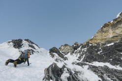 Hansjörg Auer and Alex Blümel making the first ascent of the North Face of Gimmigela East (7005m), Nepal (8-10/11/2016)