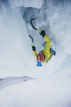 Albert Leichtfried making the first ascent of Tröll leikhús, the first grade WI7- icefall in Iceland