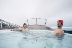 Albert Leichtfried in Benedikt Purner relaxing in a hot tub in Iceland