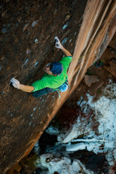 Sonnie Trotter from Canada making the first retro-trad ascent of Prosthetics 5.13d (r/x) at Mill Creek, Utah, USA.