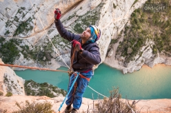 Chris Sharma and Klemen Bečan attempting the Mont-Rebei project in Spain
