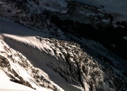 Ski touring, steep skiing: contorted glacier in val d'Hérens