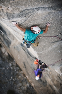 Jacopo Larcher and Barbara Zangerl making their free ascent of The Zodiac, El Capitan, Yosemite