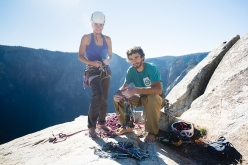 Jacopo Larcher and Barbara Zangerl after having successfully free climbed The Zodiac, El Capitan, Yosemite