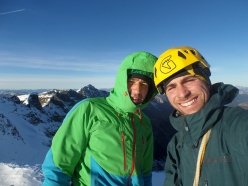 Isidor Poppeller and Vittorio Messini during the first ascent of 'Pinzga Stier' (WI5, 1200m, 23/12/2016) Hochbirghöhe (2767m)