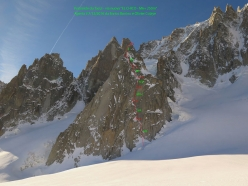 The route line of El Chico, Pyramide Du Tacul, Mont Blanc