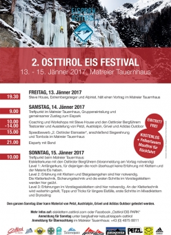 From 13- 15 January 2017 the second Ice Climbing Festival at Eispark Osttirol. Star guests include Steve House.