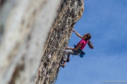Laura Rogora redpointing Joe Blau 8c+ at Oliana, Spain