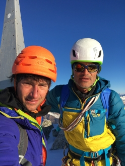 Luca Godenzi and Carlo Micheli on the summit of Pizzo Badile after having carried out a rare winter ascent of Via Cassin on 30-31/12/2016