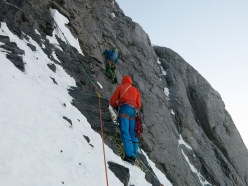 Eiger Metanoia: Stephan Siegrist belays Roger Schäli below the second ice field