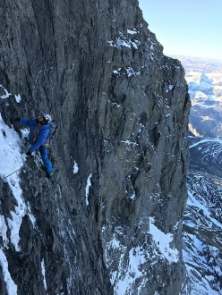 Eiger Metanoia: Stephan Siegrist on the third pitch after the Central Ledge