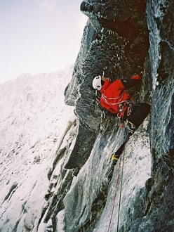 Alan Mullin approaching the roof on Crazy Sorrow, Lochnagar