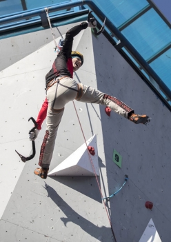 Nikolai Kuzovlev climbing to victory in the second stage of the Ice Climbing World Cup 2017 that took place at Beijing (Peking) from 5 - 7 January 2017