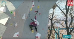 Maria Tolokonina climbing to victory in the second stage of the Ice Climbing World Cup 2017 that took place at Beijing (Peking) from 5 - 7 January 2017