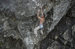Dave Macleod high on his Echo Wall, Ben Nevis, Scotland