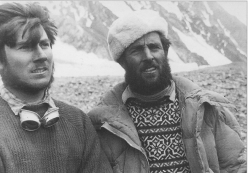 Walter Bonatti (left) and Erich Abram (right) at K2 Base Camp during the historic 1954 K2 expedition