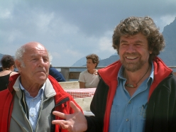 Erich Abram and Reinhold Messner in 2004 during the inauguration of the inauguration of the Messner Mountain Museum Dolomites at Monte Rite 2181m, Cibiana di Cadore
