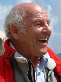 Erich Abram in 2004 during the inauguration of the Messner Mountain Museum Dolomites at Monte Rite 2181m, Cibiana di Cadore