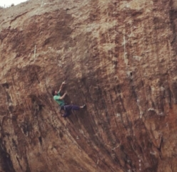 Stefano Ghisolfi attempting First Round First Minute 9b at Margalef in Spain