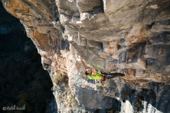 Matteo Gambaro making the first ascent of Anchorage 8c+ at Terminal, Liguria, Italy