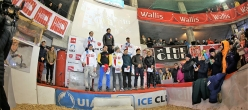 Male podium of the Ice Climbing World Cup 2017 in Saas Fee, Switzerland