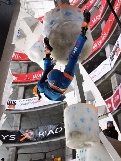 During the Ice Climbing World Cup 2017 in Saas Fee, Switzerland