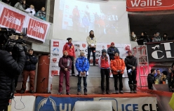 Female podium of the Ice Climbing World Cup 2017 at Saas Fee, Switzerland