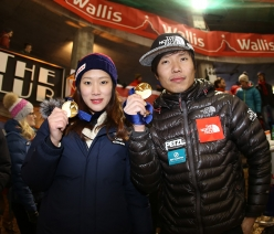Han Na Rai Song and HeeYong Park, winners of the Ice Climbing World Cup 2017 in Saas Fee, Switzerland