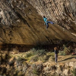 Stefano Ghisolfi making the fourth ascent of 'First Round First Minute' 9b at Margalef in Spain after Chris Sharma, Adam Ondra and Alexander Megos