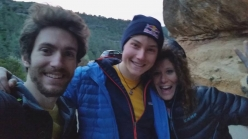Stefano Ghisolfi with Alexander Megos and Sara Grippo after having made the 4th ascent of 'First Round First Minute' 9b a Margalef in Spain