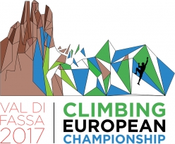 The logo of the IFSC Climbing European Championships 2017 that will take place on the ADEL climbing wall at Campitello di Fassa from 29 June to 1 July 2017