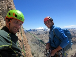 Rock climbing at Frey in Patagonia: Francesco Salvaterra, Filippo Mosca and Cerro Tronador in the background