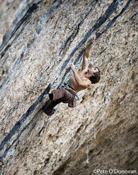 Chris Sharma making the first ascent of Sistema Analogico 9a at Santa Linya in November 2009.