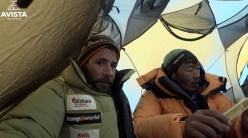 Alex Txikon and Nurbu Sherpa at Camp 3, during their attempt to climb Everest in winter without supplementary oxygen