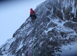 Greg Boswell making the first ascent of 'Intravenous Fly Trap' at Coire an Lochain in the Cairngorms, Scotland