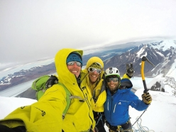Matteo Della Bordella, Matteo Bernasconi and David Bacci on the summit of Cerro Murallon in Patagonia after having made the first ascent of the East Face