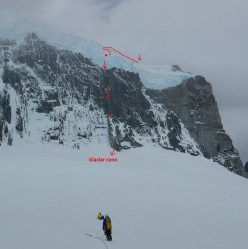 The line of descent after the first ascent of the East Face of Cerro Murallon in Patagonia (David Bacci, Matteo Bernasconi, Matteo Della Bordella 04-05/02/2017)