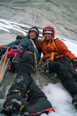 Mayan Smith-Gobat and Brette Harrington below the Cenral Tower of Paine which hosts the climb 'Riders on the Storm', Torres del Paine, Patagonia