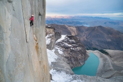 Mayan Smith-Gobat climbing 'Riders on the Storm', Torres del Paine, Patagonia
