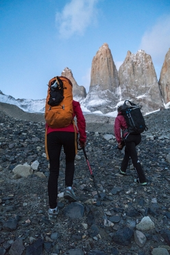 Brette Harrington and Mayan Smith-Gobat approaching the Torres del Paine in Patagonia
