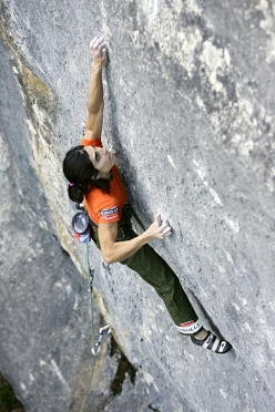 Josune Bereziartu climbing Bimbaluna 9a/9a+ at  Saint Loup in Switzerland in 2005