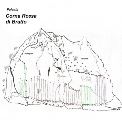 All the sport climbs at Corna Rossa di Bratto