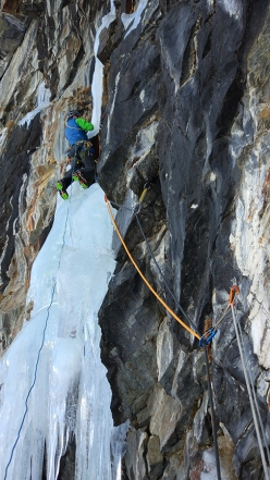 During the first ascent of Old Boy at Cogne: Mauro Mabboni climbing pitch 1