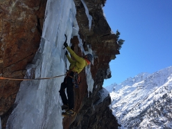 During the first ascent of Old Boy at Cogne: Patrick Gasperini at the start of pitch 7