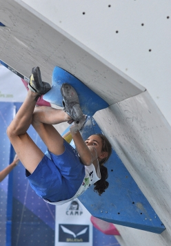 Laura Rogora competing in the World Youth Climbing Championships, Arco 2015